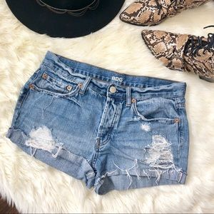 { BDG } Distressed Jean Shorts